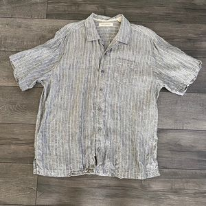 TOMMY BAHAMA- Gray Striped Linen Camp Shirt
